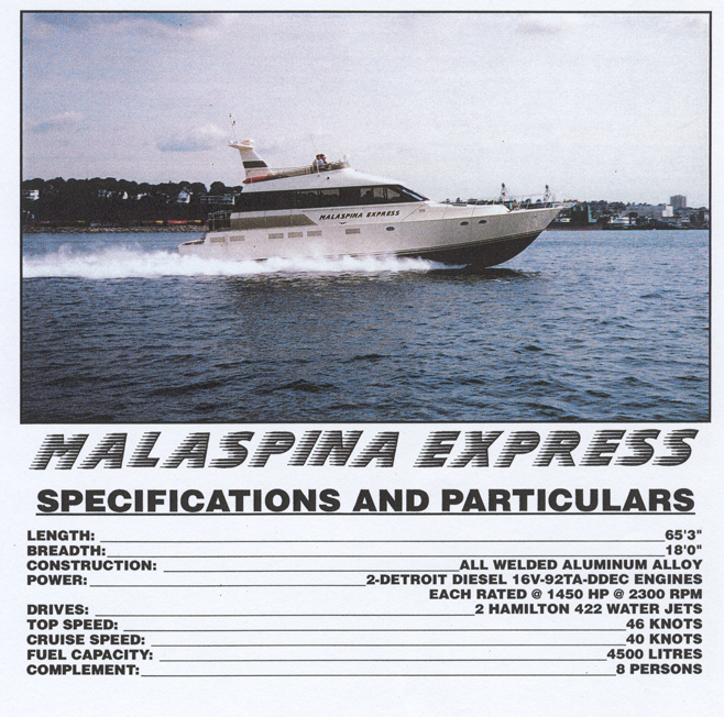 Malaspina Express Specifications